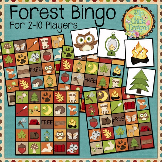 Printable Forest And Camping Themed Bingo Game