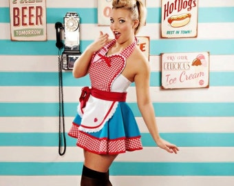 Dots Diner Retro 50s Diner Waitress Apron Teal and Red in Stock