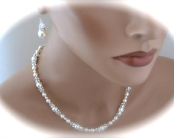 Pearl Wedding Necklace Bridal Jewelry Necklace and Earrings Jewelry Set Bridal