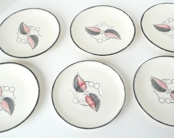 Blue Ridge Pottery Wild Cherry 2 Gray and Pink Leaf Set of 5 Bread Plates and 1 Saucer