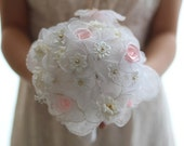 Weddings Bridal Accessories Bouquets Vintage inspired Bouquet with  Satin, flowers,  beads, Lace fabric
