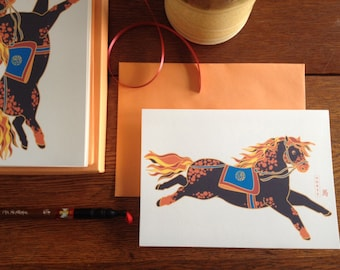 Horse Chinese New Year Card Set - Chinese Zodiac Animal Blank Note Cards