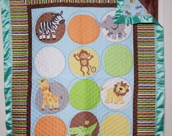 Safari Baby Blanket with Green Satin Boarder