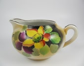 Vintage Porcelain Creamer with Flowers Made in Japan, Yellow Purple, Handpainted Pitcher