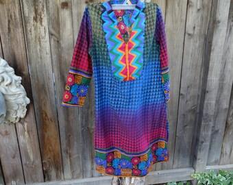 oN sALe/oN sALe /GOOD KARMA Retro Fairy Ethnic Psychedelic Fairy Pixie Tunic Boho Dress Size Small 2-4 NOS
