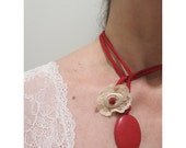 Red silk lariat