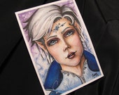 Original Elf Portrait Watercolor Mixed Media Painting ACEO