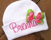 Infant Beanie Hat with Bow Personalized