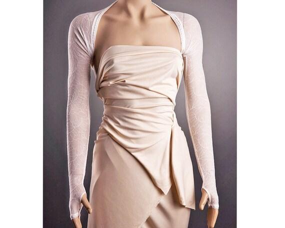 IVORY Wedding BOLERO with Long Sleeves Fingerless/Classic Any Lenght,Long Sleeve Bolero,Lace Bolero,Ivory Lace Bolero,Bridal Lace Bolero