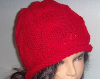 Womans Red Knit Cable Beanie Hat, Womans Accessories, Teen Hat, Red Knitted Beanie