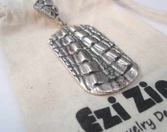Original Ezi zino dog tag Crocodile alligator Texture Crocodile  Pendant Handmade solid Sterling Silver 925