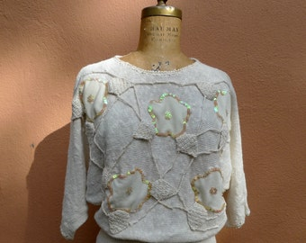 Vintage 80s Sweater // Ivory Sequin Dolman Sleeve Sweater