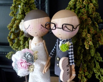 Wedding Cake Topper with Custom Wedding Dress with Rustic Forest Background- Custom Keepsake by MilkTea