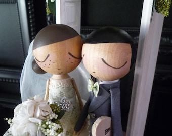 Wedding Cake Topper with Custom Wedding Dress and Shabby Chic Door/Enchanted Garden Background by MilkTea