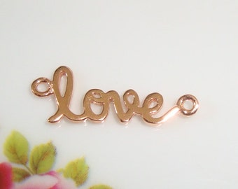 2 pcs, LOVE, Artsy Love, Sideways Love, Rose Gold Sterling Silver Love Connector, Link, Pendant - sale - PC-0001