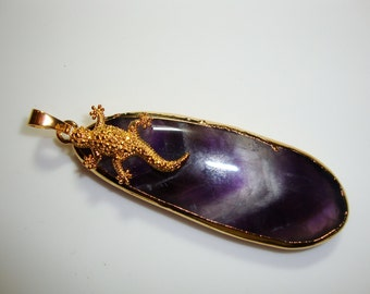 Sale, Reduced from 39.90, Amethyst and Lizard, Bold and Beautiful Large Amethyst Gold Pendant, one of a kind handmade  - D27-5