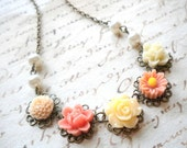 Flower Girl Necklace Children Pearl Necklace Flower Girl Gift Pastel Jewelry Peach Necklace Wedding Jewelry For Flower Girl Children Jewelry