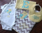 Personalized Layette Set- Blanket, Bib, Burp Cloth, Bodysuit Set- Personalized Gift Set- Baby Shower Set- Bird Bodysuit Set
