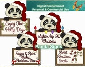 Instant Download Christmas Digital Clipart Santa Panda Signs For Scrapbooking, Greeting Cards, Stickers, Gift Tags, Printables And More