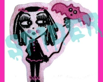 Dolly Bats TM Happy Batday Spooky Cutie with her Bat Balloon Embroidered Patch Iron on Patches