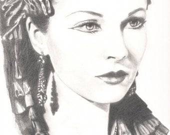 vivien leigh, queen of the nile - art PRINT of original drawing...