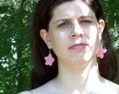 Starfish Dangle Earrings In Pink ON SALE  50% - amydscrochet
