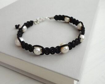 Black leather bracelet white freshwater pearls macrame braided cuff women's bracelet