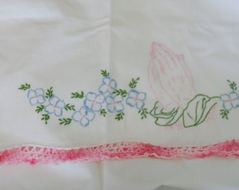 vintage embroidered pillowcases praying hands with blue flowers