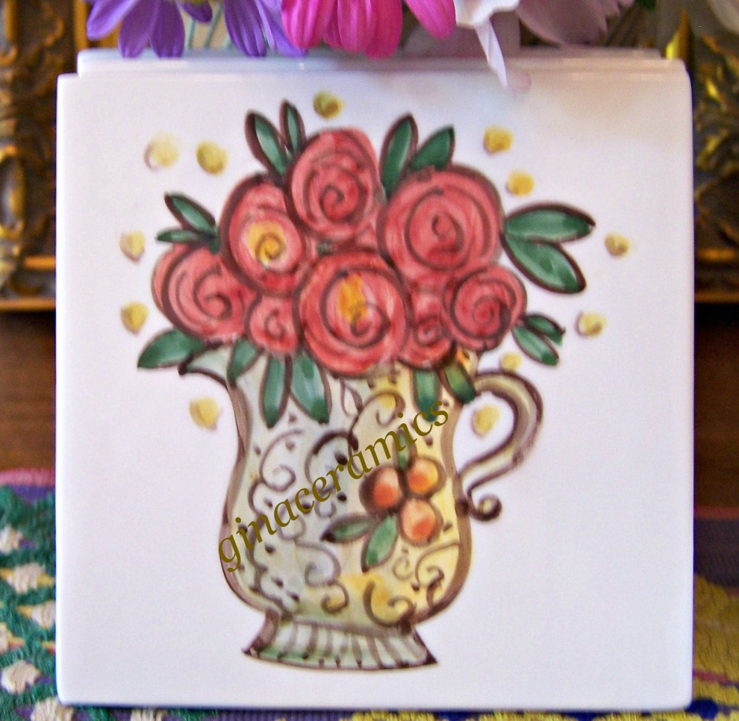 Hand painted ceramic tile x inches by - Hand painted ceramic tile ...