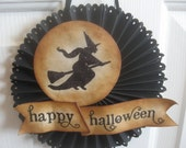 Halloween glittered WITCH door or wall medallion