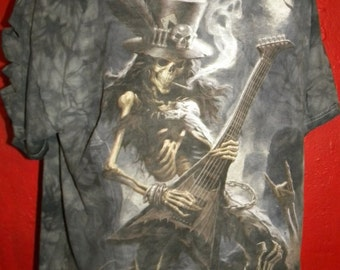 Halloween Skeleton Musician Unisex T Shirt Upcycled  Reconstructed Tee Mens Large