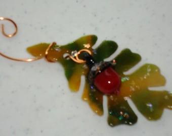 Oak Leaf and Acorn - Fused Glass Ornament 12082