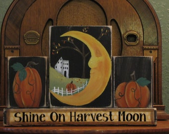 Fall Decor, Fall Sign, Fall Decoration, Thanksgiving Decor, Thanksgivign Sign, Autumn Decor, Pumpkin, Shine On Harvest Moon