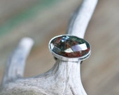 SALE Kyanite Cocktail Ring, Faceted, Bezel Set Gemstone with Heavy Sterling Band, Size 7.5