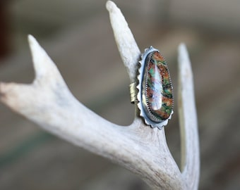 SALE! Plume Agate Ring, Courtland Plume, Statement Ring, Cocktail Ring, Size 6