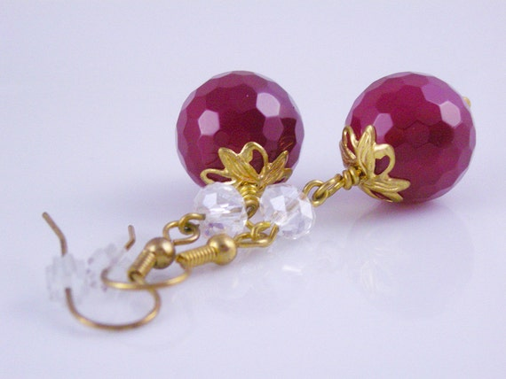 Faceted Red Agate Earrings with Clear Crystals and Gold Leaf Bead Caps on Gold French Ear Wires