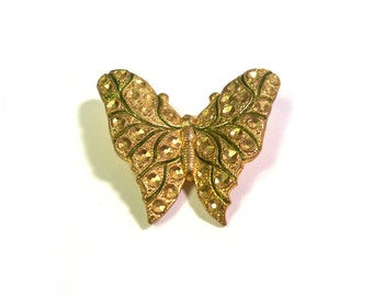 Vintage 1920s Butterfly Pin Brooch in Ornate Gold Tones