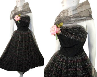 1950s STRAPLESS Polka Dot Layered Tulle Lace Holiday Party Prom Dress Gown