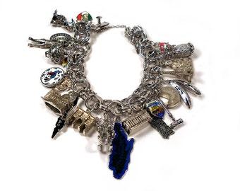 STERLING SILVER 1950s vintage World Traveler Souvenir Charm Bracelet 23 Charms France, Bahamas, Canada, etc