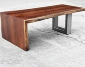 Walnut Coffee Table Folded Bole Steel Base - Live Edge wood bench - Acero - Reclaimed Hardwood - Handmade in the USA - Modern decor