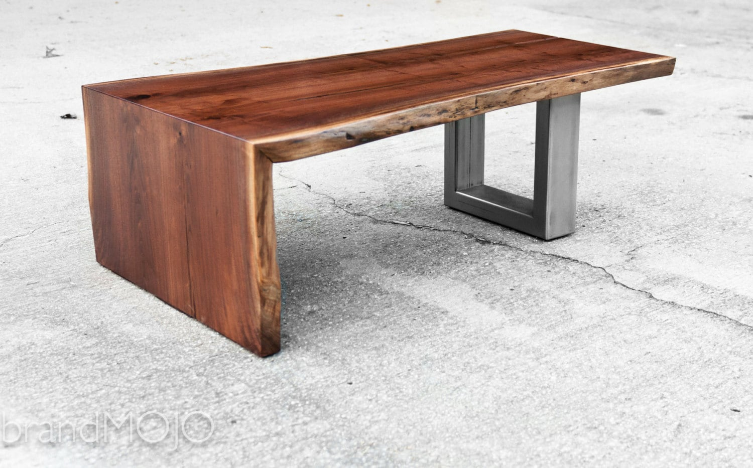 Live edge walnut coffee table with steel base live edge wood Live wood coffee table