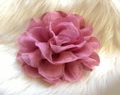 2pcs New Large Shabby Chic Frayed Wrinkled Cotton Voile and Tulle Rose Fabric Flower - Dark Mauve / Vintage Pink