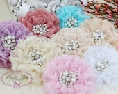 NEW: The Sunridge - YOU PICK 10 pcs 3 inch Ruffled Lace Fabric Flowers w/ rhinestones and pearls center for Bridal Sashes, Hair Appliques