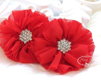 "2 pcs 2.5"" Adeila Ballerina RED Shabby UNFrayed Chiffon Ruffle Flowers with Rhinestone, Silk Flowers, applique , hair accessories"