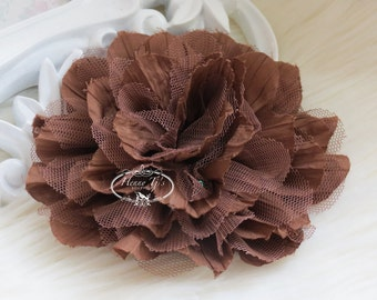 1 pc New Large Shabby Chic Frayed Wrinkled Cotton Voile and Tulle Rose Fabric Flower - Chocolate BROWN