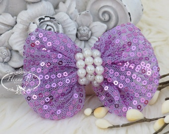 The Evaria - 2 pcs LAVENDER LILAC Sequin Bow Knot with pearls center for Bridal Sashes, Fascinator, Baby Bow or Hat Design Appliques .