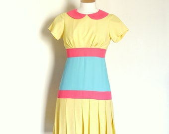 Size UK 10 (US 6-8) -Yellow, Pink and Blue Pop Drop-Waist Dress- Made by Dig For Victory