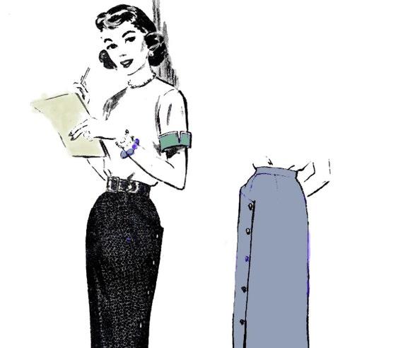 1950s Buttoned Pencil Skirt Vintage Sewing Pattern Butterick 6654 Waist 26 Hip 35