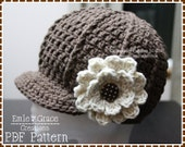 Crochet Newsboy Hat Pattern, Ribbed Flower Cap, SARA - pdf 204