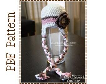 Crochet Flower Hat Pattern, Stripe Ear Flap, HANNAH - pdf 227